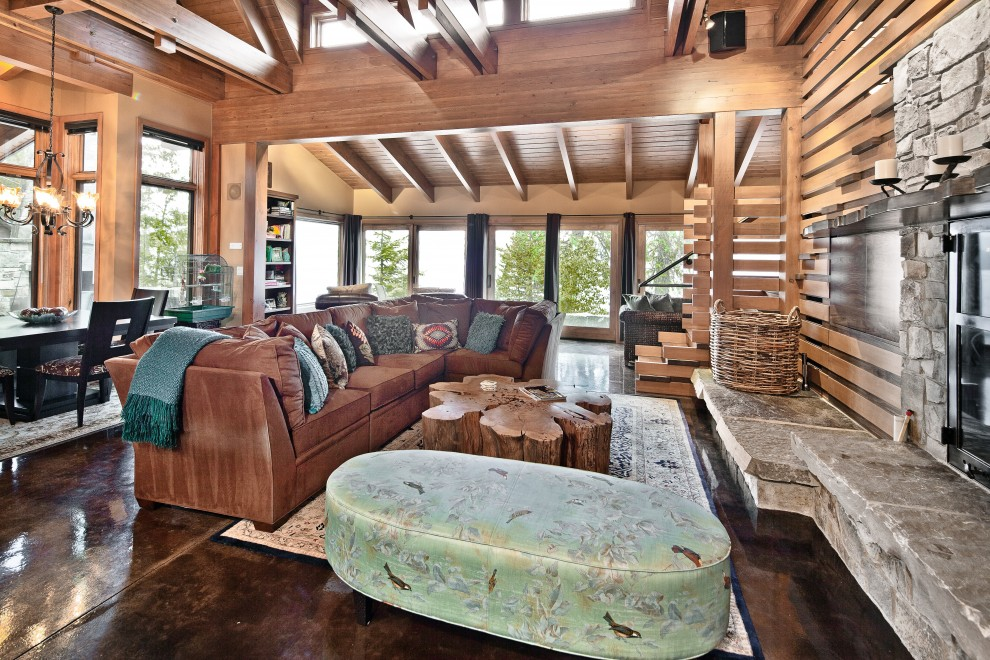 tree-trunk-coffee-table-Living-Room-Rustic-with-accent-fireplace ...