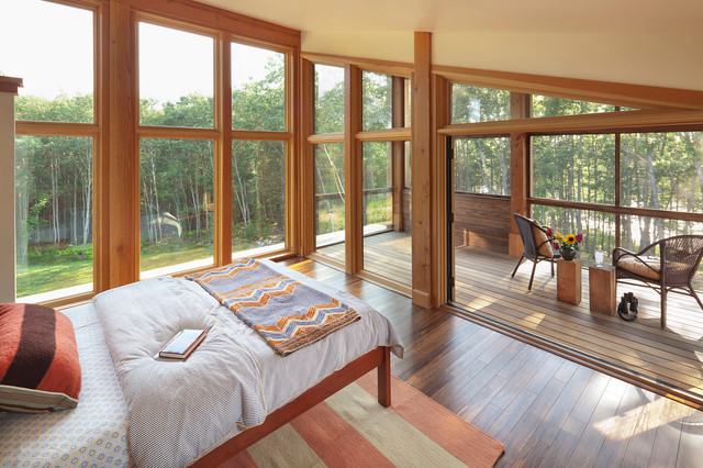 Triangle Pest Control Bedroom Contemporary with Beige Bedding Cambia Chevron Throw Covered Porch Floor to Ceiling Windows