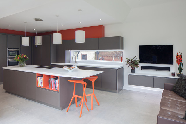 triangle pest control Kitchen Contemporary with bespoke contemporary kitchen cylinder lampshades grey grey cabinets grey