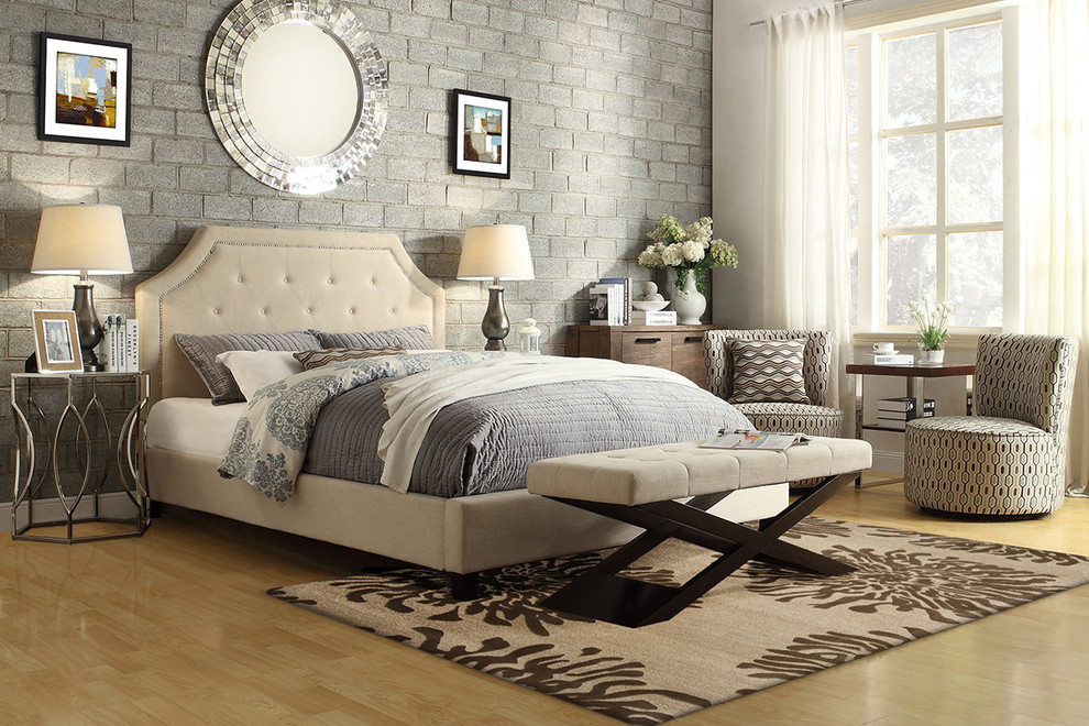 Tribecca Home Bedroom Transitional with Accent Chairs Accent Tables Area Rugs Bedding