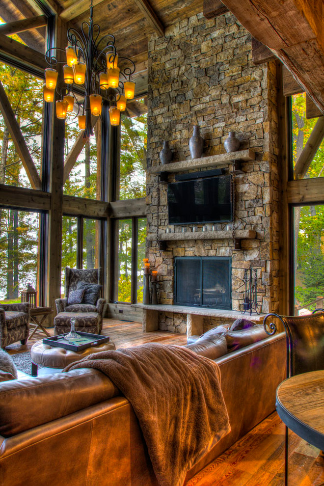 Tribecca Home Family Room Rustic with Arts and Crafts Brainerd Lakes Cabin Cottage