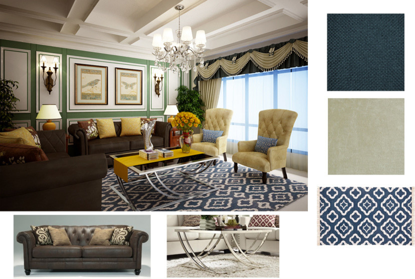 tribecca home Living Room with affordable high-end custom window treatment living room
