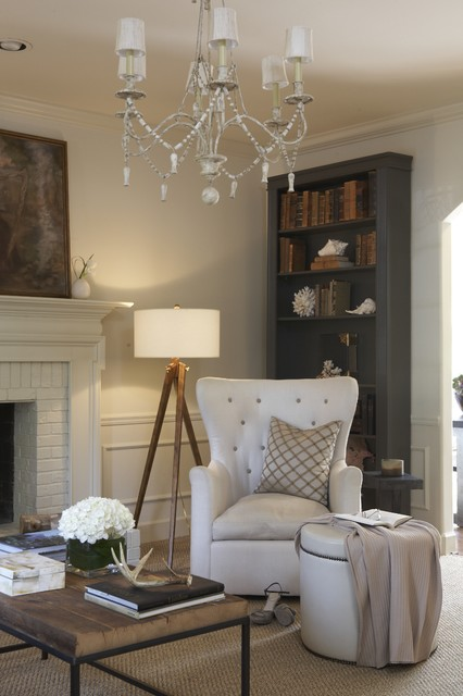 Tripod Floor Lamp Living Room Shabby Chic with Chandelier Gray Living Room Monochromatic Neutral Rustic Shabby Chic