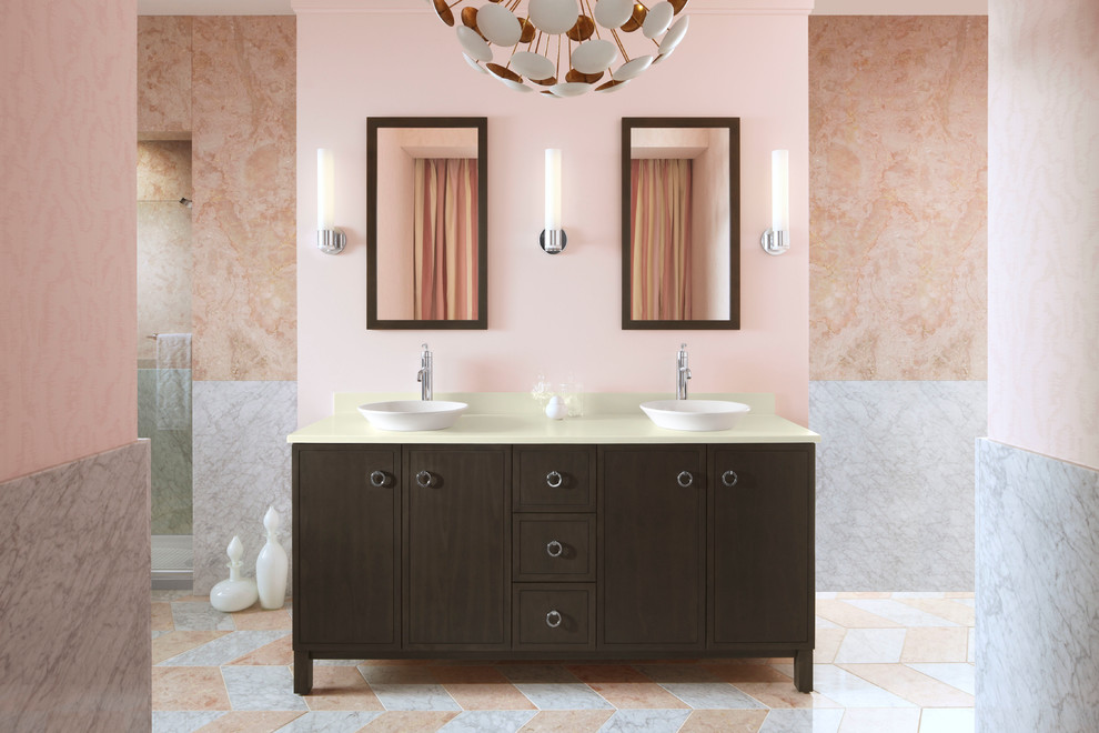 Trough Sinks Bathroom Contemporary with Chevron Tile Custom Made Double Vanity Hers And