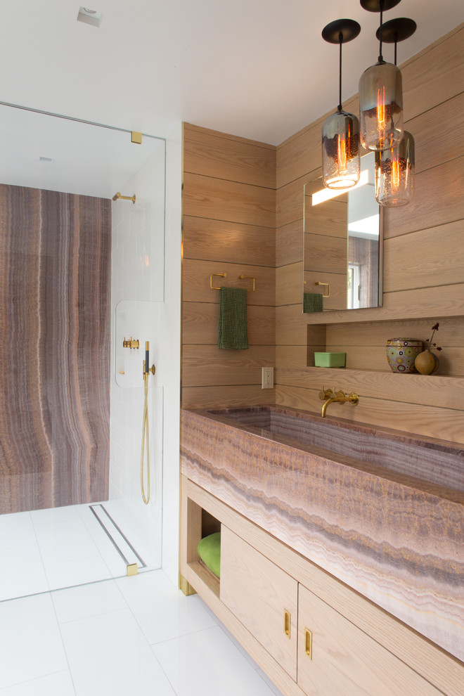 Trough Sinks Bathroom Contemporary with Bleached Oak Glass Low Maintenance Marble Marble