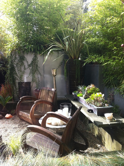 True Innovations Chair Landscape Tropical with Bamboo Buddha Candles Copper Planter Garden Room Gravel Metal