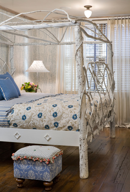 trundle bed frame Bedroom Eclectic with aspen bedding branch bed canopy bed rustic wood floor