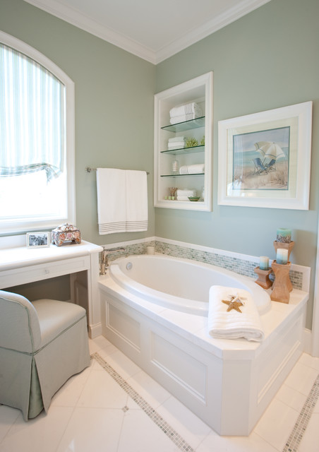 Tub Inserts Bathroom Traditional with Arched Window Bathroom Storage Built in Shelves Glass Shelves Green