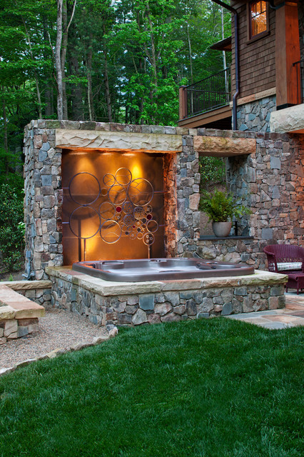 Tub Inserts Pool Traditional with Backlit Balcony Wood Beams Grass Gravel Hot Tub Jacuzzi