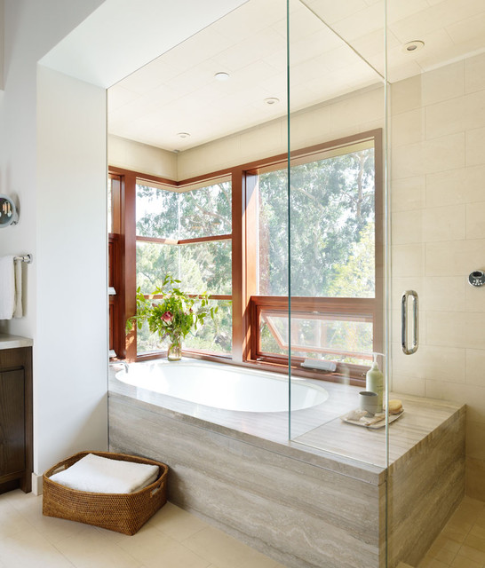 Tub Surrounds Bathroom Modern with Basket Bath Bench Glass Glass Shower Glass Wall Marble