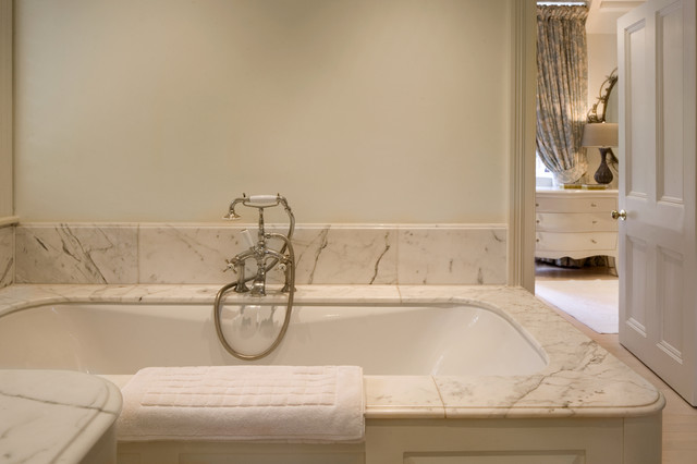 Tub Surrounds Bathroom Traditional with Bath Fixtures Bath Hardware Marble Tile Monochromatic Neutral Colors