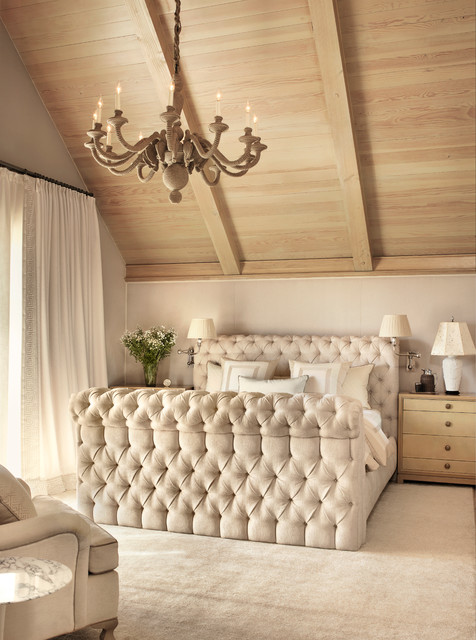 Tufted Bed Frame Bedroom Farmhouse with Curtains Neutral Night Stand Table Lamp Tall Ceilings Tufted