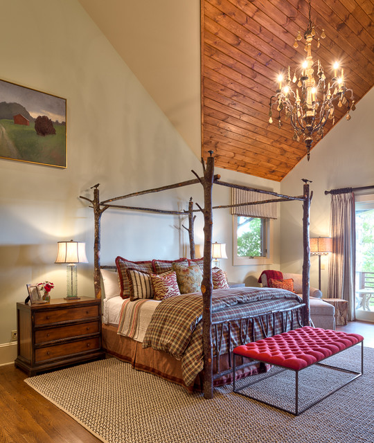 Tufted Bed Frame Bedroom Rustic with Branch Bed Frame Canopy Bed Chandelier Eclectic Four Poster