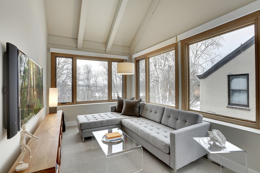 Tufted Couch Sunroom Rustic With Ben Ganje Clear Acrylic Coffee