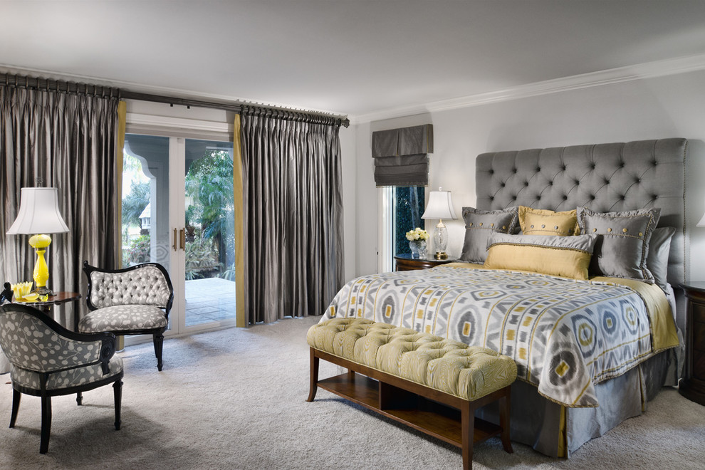 tufted-headboard-Bedroom-Contemporary-with-bed-bench-clear-table ...