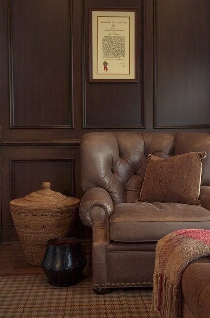 Tufted Leather Couch Family Room Traditional with Area Rug Den Diploma Leather Armchair Nailhead Trim Plaid