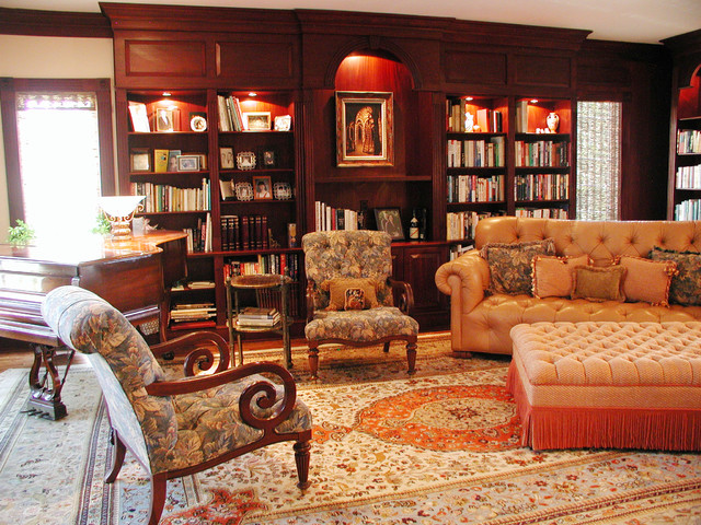 Tufted Leather Couch Living Room Traditional with Area Rug Bookcase Bookshelves Built Ins Decorative Pillows Grand