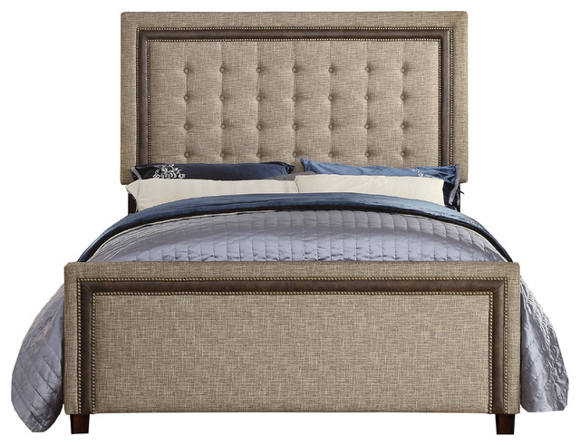 Tufted Queen Bed with Adjustable Height Button Caf Easy Assembly Espresso Euro Slat