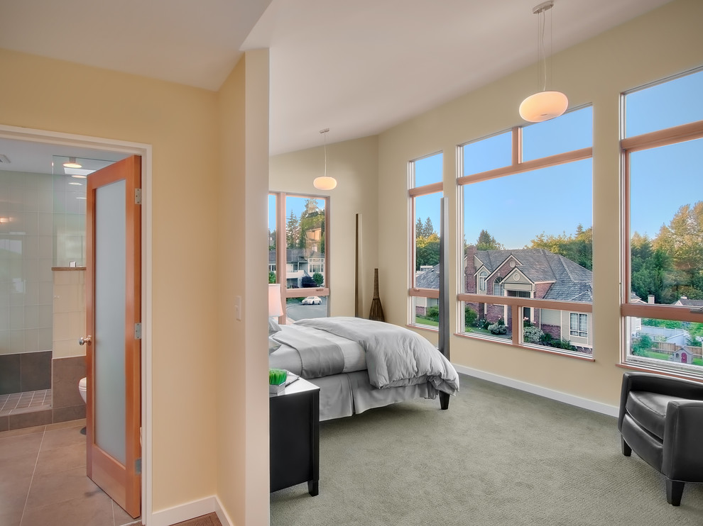 Tuftex Carpet Bedroom Contemporary with Ceiling Lighting Frosted Glass Glass Doors Grey