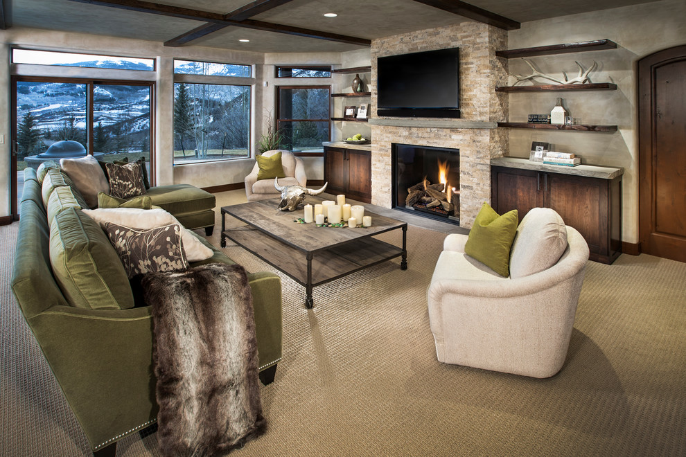 Tuftex Carpet Family Room Contemporary with Accessories Candles Carpeting Ceiling Lighting Coffee Table