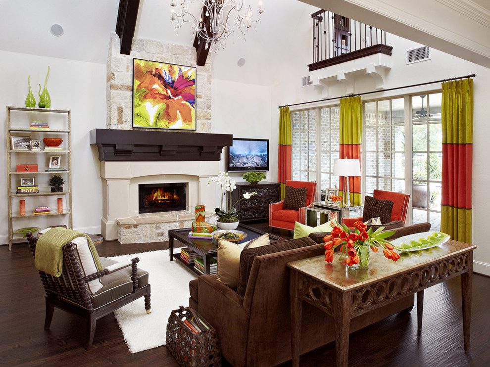 Tulip Arrangements Family Room Traditional with Area Rug Bright Color Chartreuse Color Console