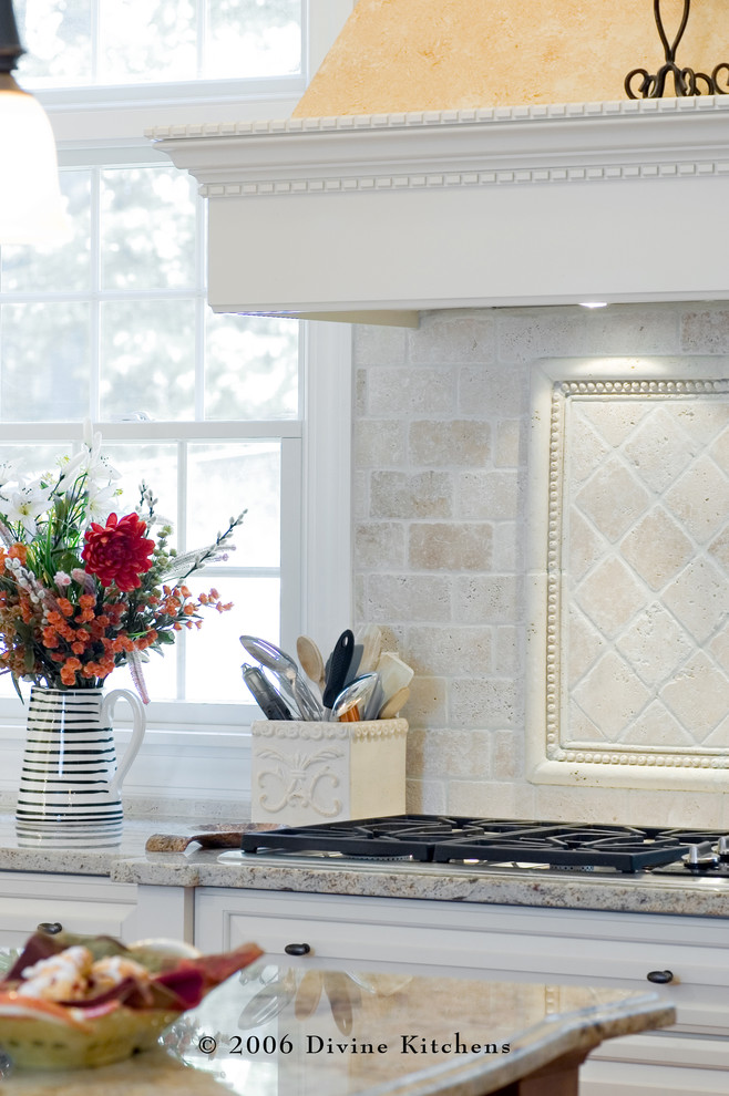 Tumbled Marble Kitchen Traditional with Gas Stove Granite Countertop Marble Backsplash Marble