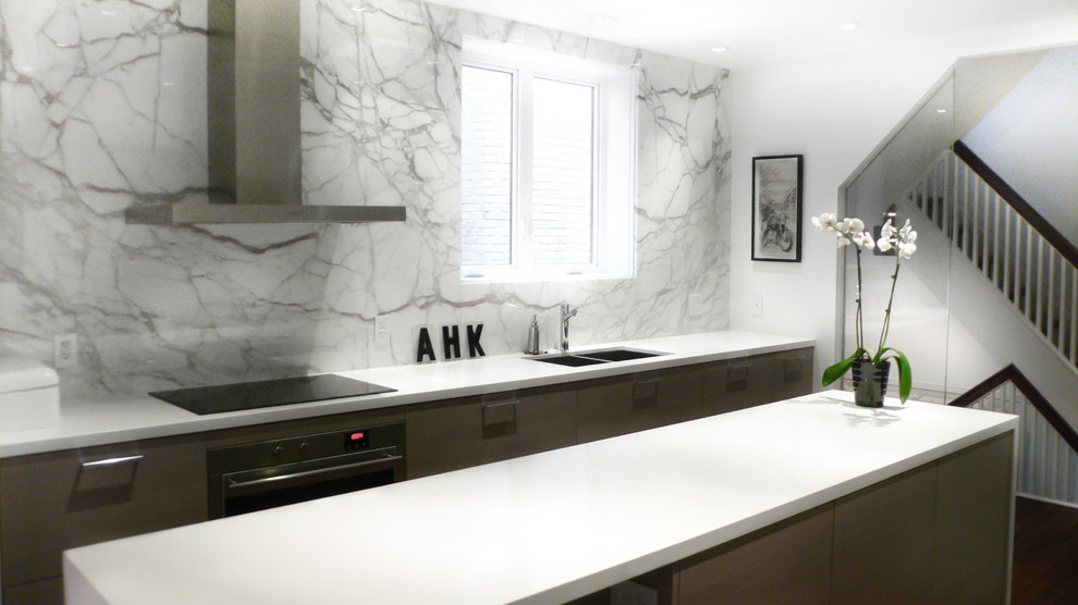 Tumbled Marble Backsplash Kitchen Contemporary With Calacatta Marble  Cararra Cooktop Hood Fan Kitchen