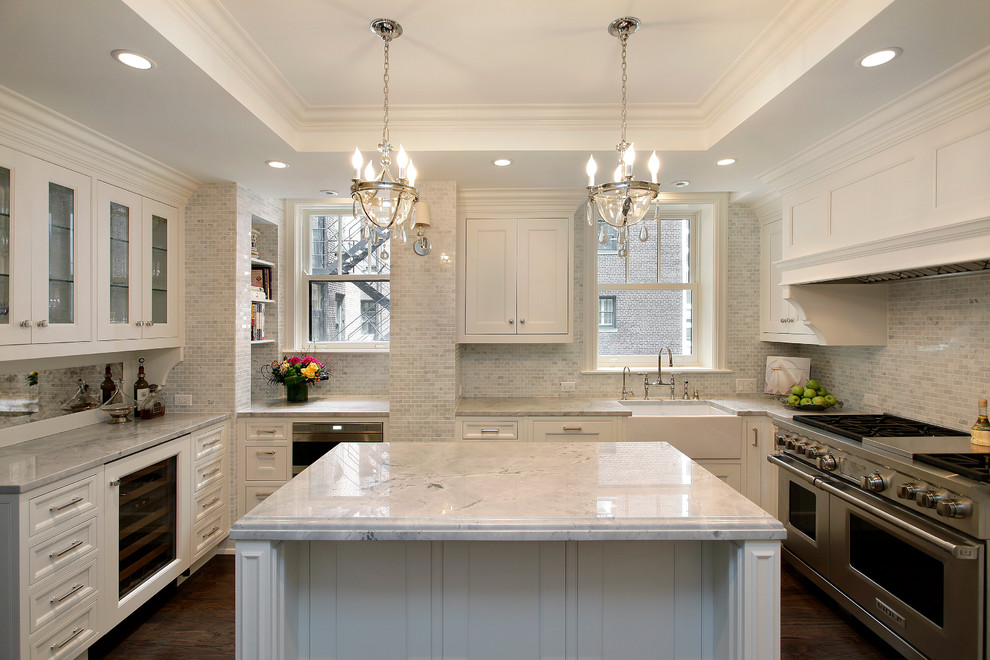 Tumbled Marble Backsplash Kitchen Traditional with Apron Sink Chain Crown Molding Crystal Pendants