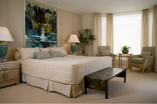 turquoise duvet cover Bedroom Contemporary with bay window bedside table bedskirt beige duvet ceiling lighting