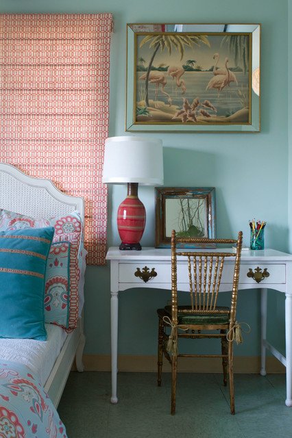 Turquoise Duvet Cover Bedroom Eclectic with Bedside Table Coral Duvet Fabric Flamingo Gold Rattan Red