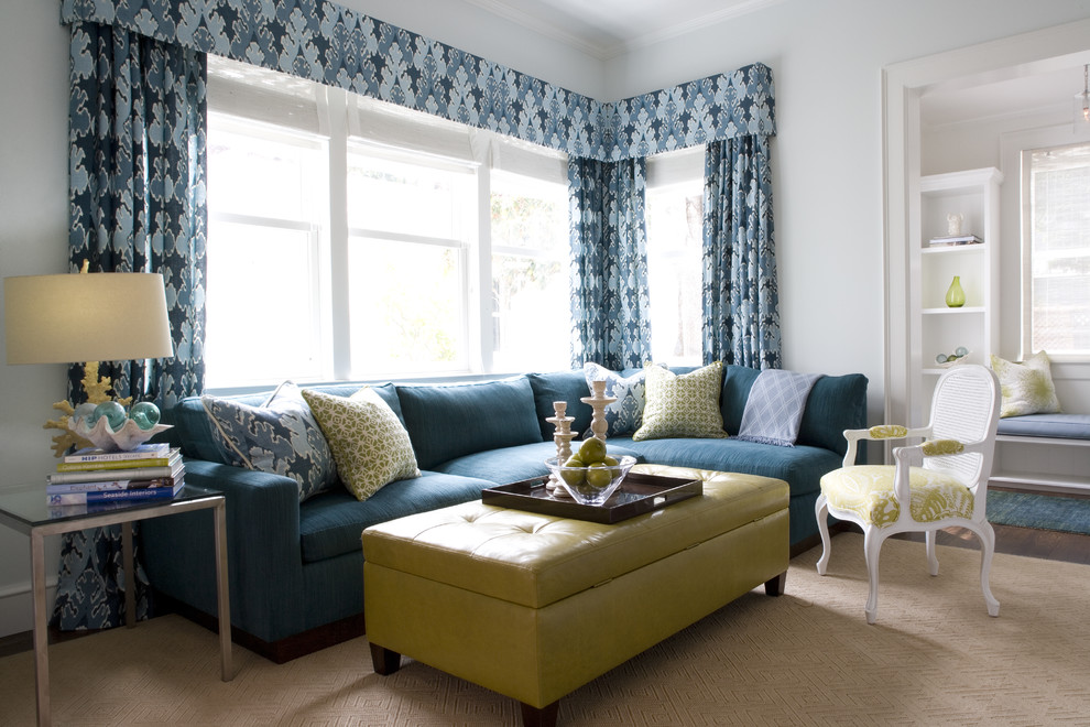 Turquoise Ottoman Living Room Transitional With Accent Pillow Airy