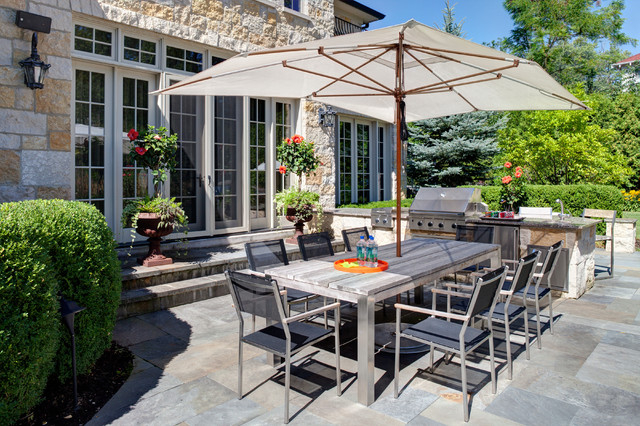 Tuuci Umbrella Patio Transitional With BBQ Eight Dining Chairs Grecian Urns  Outdoor Dining Chairs