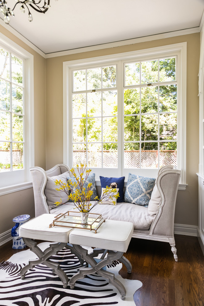 tuxedo sofa Home Office Transitional with beige wall cushions flowers natural light sitting