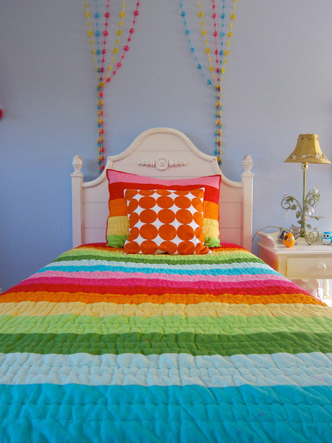 tween bedding Kids Contemporary with beaded strings Bedroom colorful cottage dots girl kids light