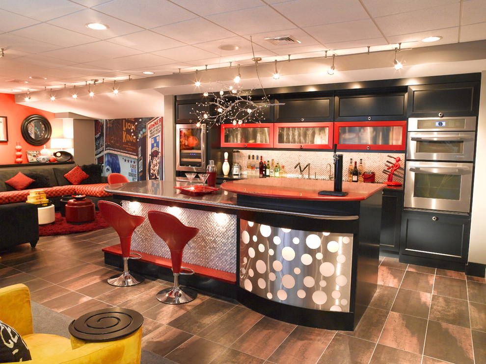 Twig Chandelier Basement Eclectic with Bar Area Black Cabinets Black Sectional Brown