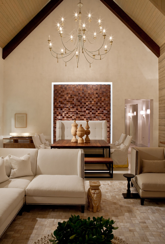 Twig Chandelier Dining Room Transitional with Area Rug Banquette Bench Blocks Chandelier Corner