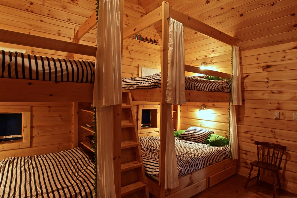 Twin Over Full Bunk Bed with Stairs Bedroom Rustic with Bunk Beds Bunkie Cottage Guest Room Island