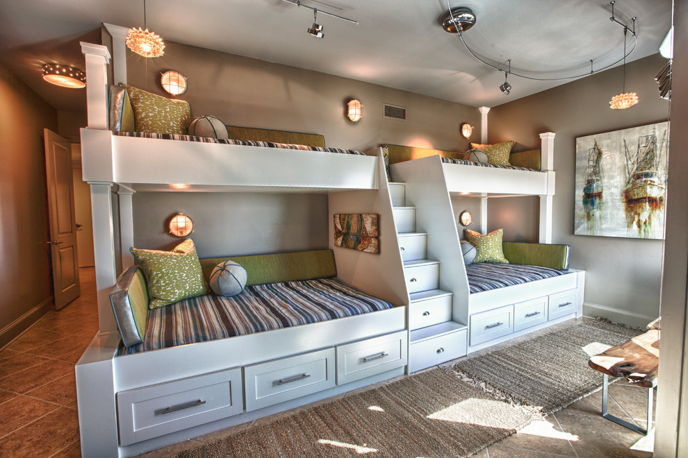 Twin Over Full Bunk Bed with Stairs Kids Beach with Aera Rugs Artwork Boat Art Bunk Beds