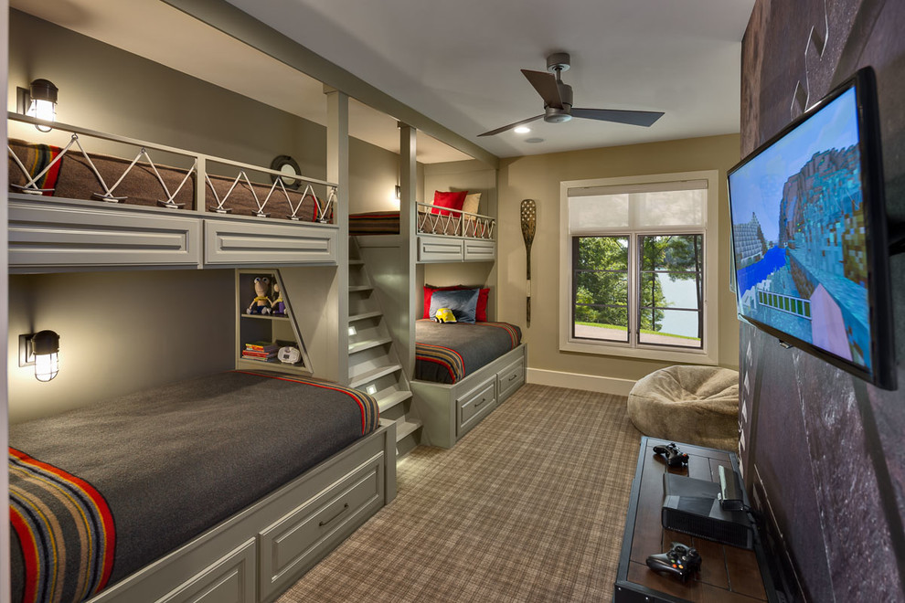 Twin Over Full Bunk Bed With Stairs Kids Rustic Built In. Ceiling Fan ...