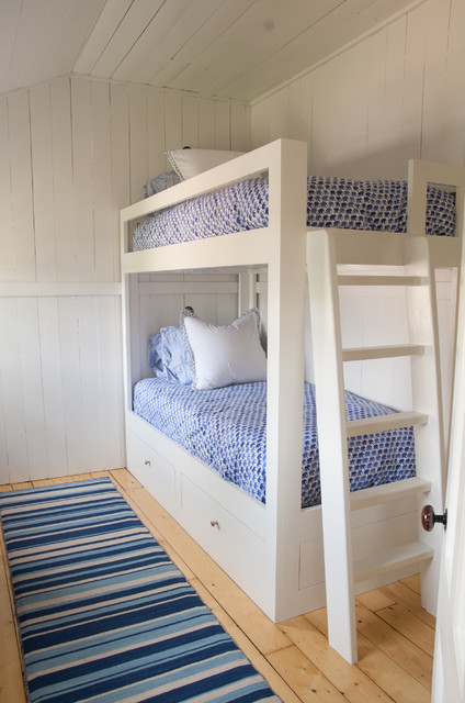 Twin Over Full Bunk Bed with Trundle Kids Beach with Bamboo Roman Shades Beach Cottage Beach Home Blue Bedding