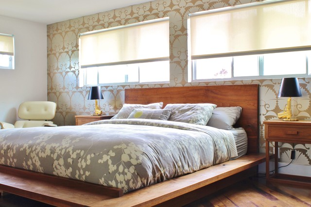 twin platform bed frame Bedroom Midcentury with 2 windows Art black lamp shades contemporary Eames gray