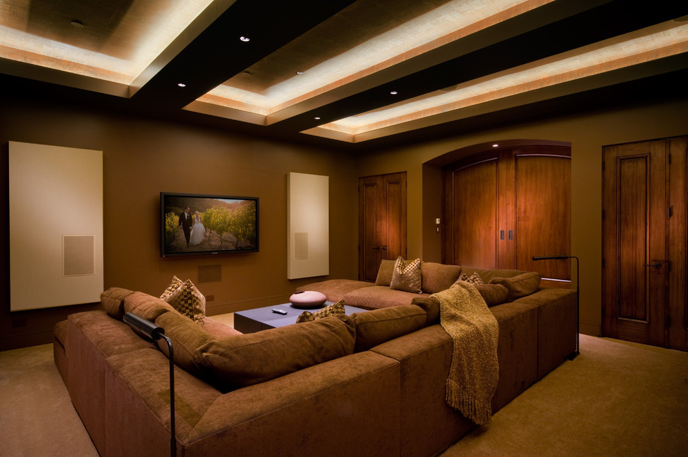 U Shaped Sectional Sofa Home Theater Contemporary with Arched Double Door Arched Pocket Door Beige