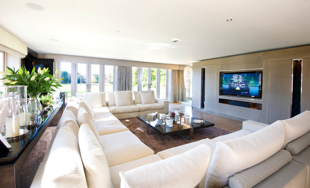 U Shaped Sectional Sofa Living Room Contemporary with Area Rug Audio Distribution Coffee Table Corner