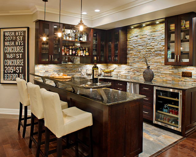 undercounter ice machine Home Bar Traditional with dark wood cabinets glass-front cabinets home bar pendant lighting