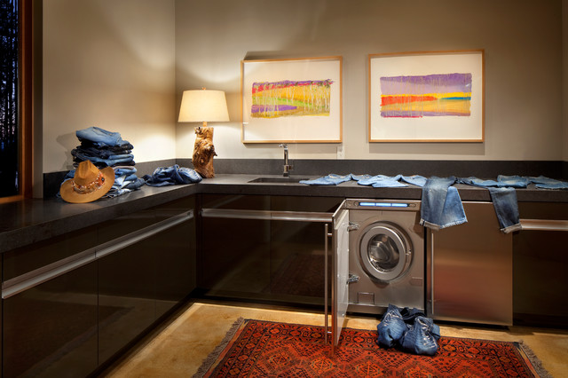 Undercounter Ice Machine Laundry Room Contemporary with Black Cabinets Bright Wall Art Clean Lines Contemporary Art
