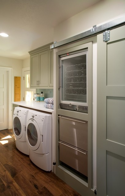 Undercounter Ice Machine Laundry Room Traditional with Barn Door Built Ins Front Loading Washer and Dryer Green