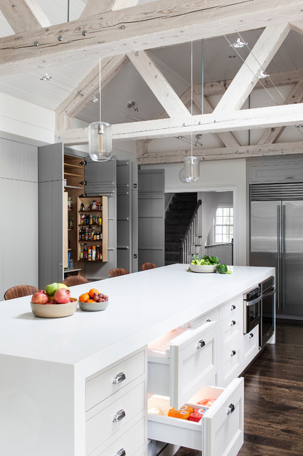 Undercounter Refrigerator Drawers Kitchen Transitional with Gray and White Kitchen Green Cabinets Kitchen Island Neutral