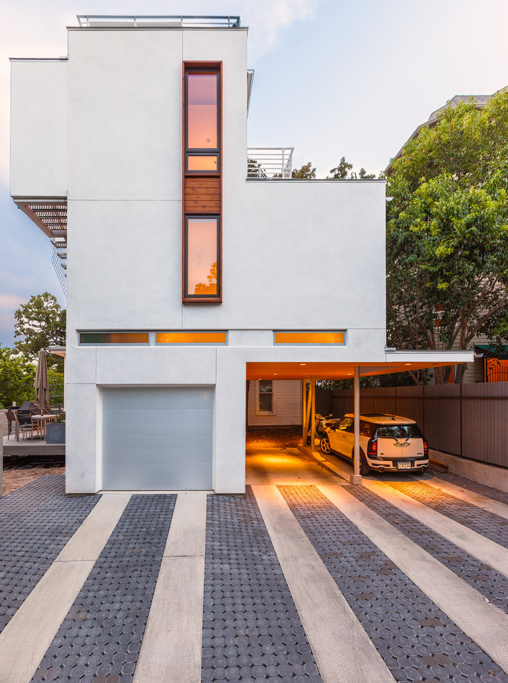 Unilock Pavers Garage and Shed Contemporary with Boxy Covered Carport Fence Garage Door Outdoor
