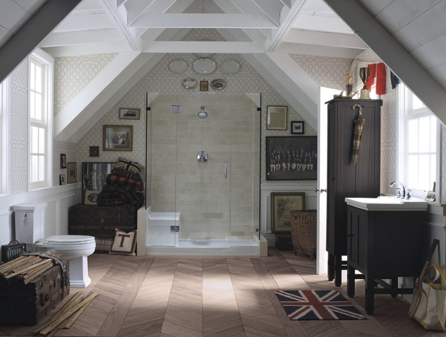 Union Jack Rug Bathroom Eclectic with Cabinet China Display Cube Shower Dark Wood Cabinet Dark