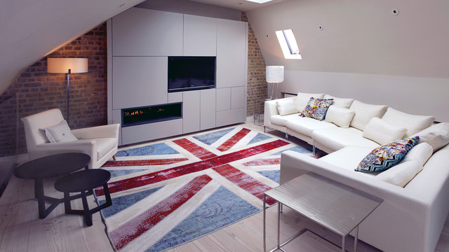 Union Jack Rug Family Room Contemporary with Circle Coffee Tabe Contemporary Fireplace Cream Sofa Dark Wood